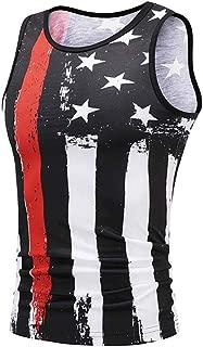 Men's Summer USA Flag 3D Print Slim Fit Sleeveless Singlet T-Shirt Top Vest Tank