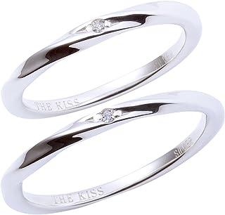[ザ・キッス] THE KISS SR1546DM-P (Lady's:10号 Men's:16号) 結婚指輪 2個セット シンプル ダイヤモンド シルバー ペアリング