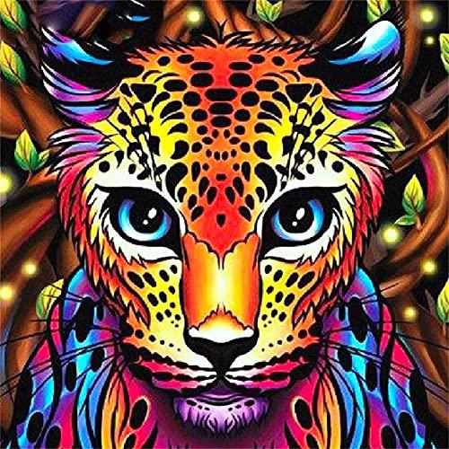 DIY 5D Diamante Pintura por Número Kit Cabeza de leopardo Diamond Painting Bordado Punto de Cruz hogar Decoración Diamante Crafts,Arte de cristal para adultos y niños regalos Round drill 60x60cm
