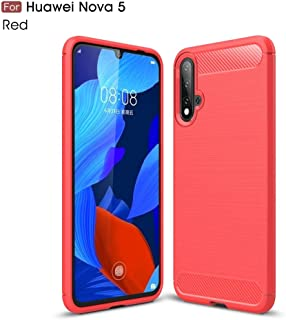 Fashion Phone case Compatible with Huawei Nova 5/Nova 5 Pro, Ultra Light Carbon Fiber Armor Shockproof Brushed Silicone Grip Case (Color : Red)