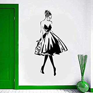 Pegatinas De Pared Y Murales Pegatinas De Pared Rostros Femeninos Estilo De Moda Vinilo Hormiga Mural Tienda De Ropa Diseño Cartel Mural Salón De Belleza Decoración 57X112Cm