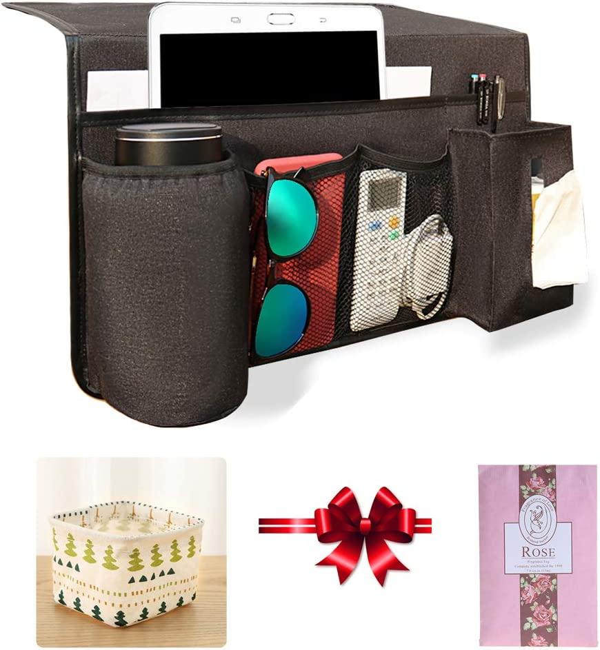 Zielony Bedside Caddy Storage Magazine Holder Organizers Home Decor with Cooler Cup Holder Non-Slip Beside Caddy Bed for Remote Control, Phone, Magazine, Bottles,Books,Tablet (Black 3)