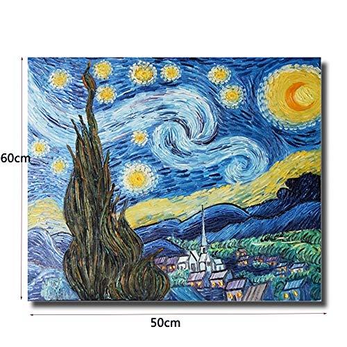 Tableau Peinture Sur Toile à L'Huile 60X50Cm. Tableau Acrylique Peint à La Main. Toile Sur Cadre Bois. Abstrait Ciel éToilé
