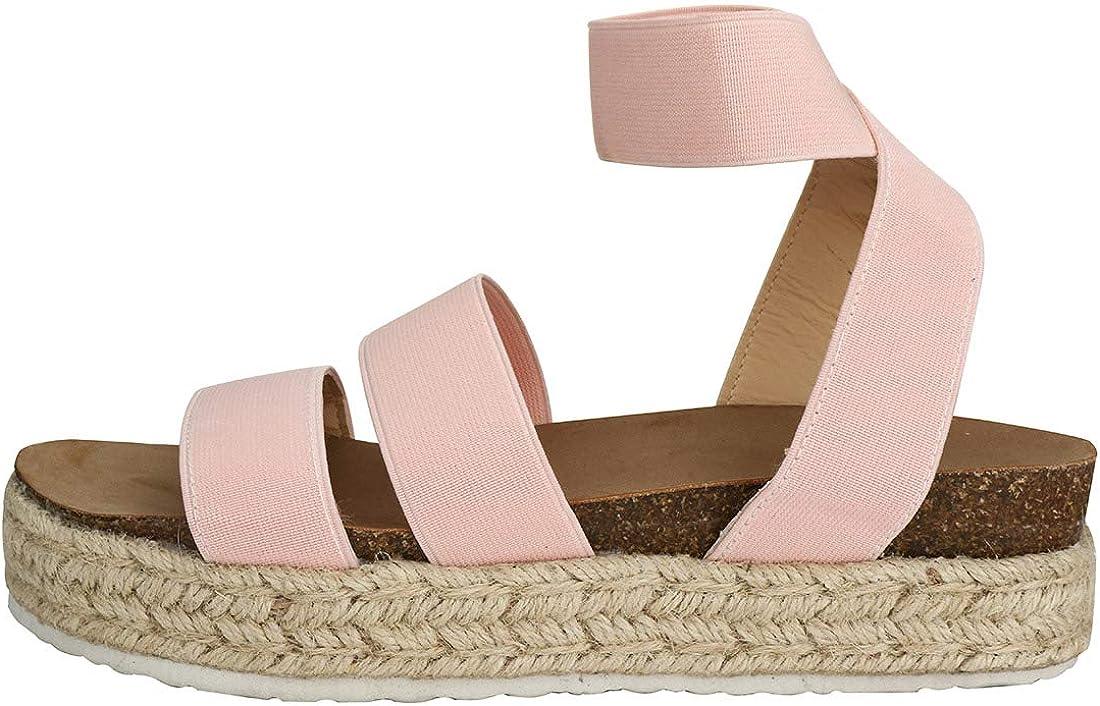Womens Casual Slide On Espadrille Platform Sandals Comfort Ankle Elastic Strap Flatform Wedge Sandals