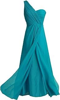 Women's Chiffon One-Shoulder Split Slit Bridesmaid Dress Evening Gowns