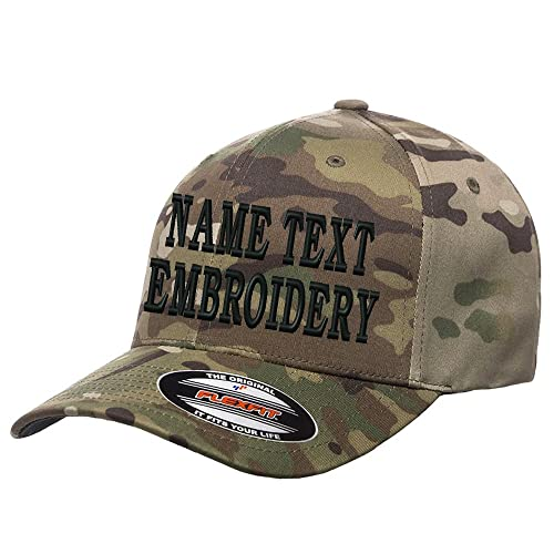 5ab506066f4eb Custom Embroidery Hat Flexfit 6277 Personalized Text Embroidered Fitted  Size Cap