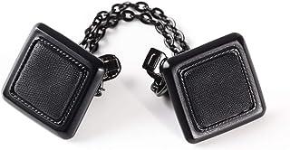 くーる&ほっと ブラック フロントクリップ 日本製(群馬県にて製造)フック付き フロント飾り ストールクリップ スクエアデザイン