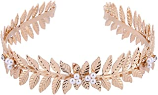 FXmimior Handmade Gold Bridal Wedding Crown Leaf Headband Women Crystal Tiara Headpiece