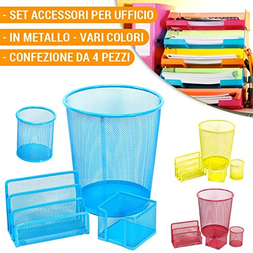 Desk Set 4 Pezzi Accessori per Scrivania in Metallo Retinato Vari Colori Ufficio Casa Top Write