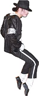 Halloween Cosplay Adecuado para fanáticos de Michael Jackson Kid Disfraz de Cosplay para Adultos 4pcs MJ Billie Jeans Jacket + Pant + Socks + Guante