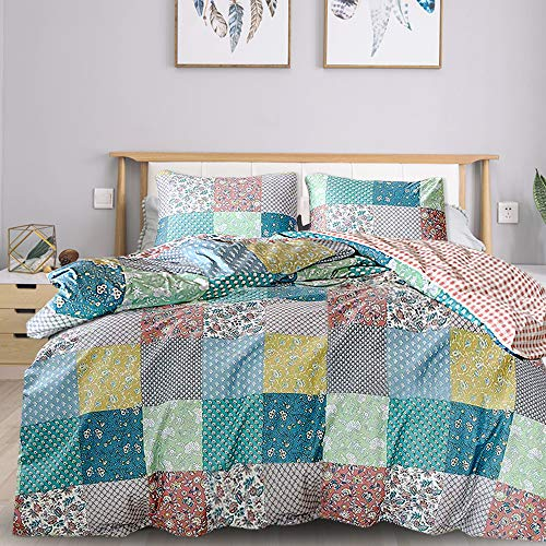 mixinni Country Style Duvet Cover Queen Size Patchwork Pattern Soft Cotton Floral Print Full Bedding Set 1 Duvet Cover with Zipper Ties 2 Matching Pillowcases,Easy Care, Quality Soft Breathable