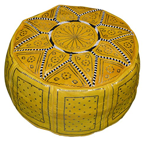 Moroccan Pouf Ottomans Hand Made Leather Luxury Footstools Cover Yellow