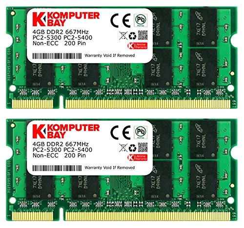 8GB Dual Channel Kit 2x 4 GB 200 pin DDR2-667 (PC2-5400) SO-DIMM 256Mx8x16 double side