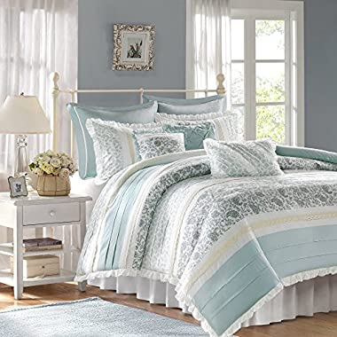 Madison Park Dawn Duvet Cover Cal King Size - Aqua , Floral Shabby Chic Duvet Cover Set – 9 Piece – 100% Cotton Percale Light Weight Bed Comforter Covers