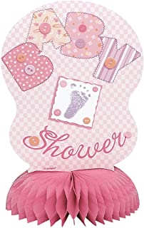 4 honeycomb pink baby shower decorations