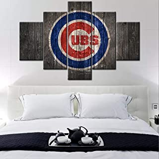 Sports Canvas Wall Art Chicago Cubs Logo Painting USA Baseball Teams Art Decor Wall..