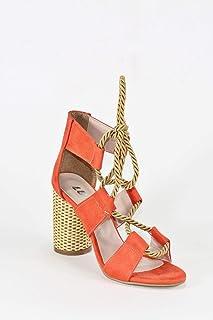 Halat Bağcıklı Turuncu Renkli Hasır Topuklu Kadın Ayakkabı - Offex