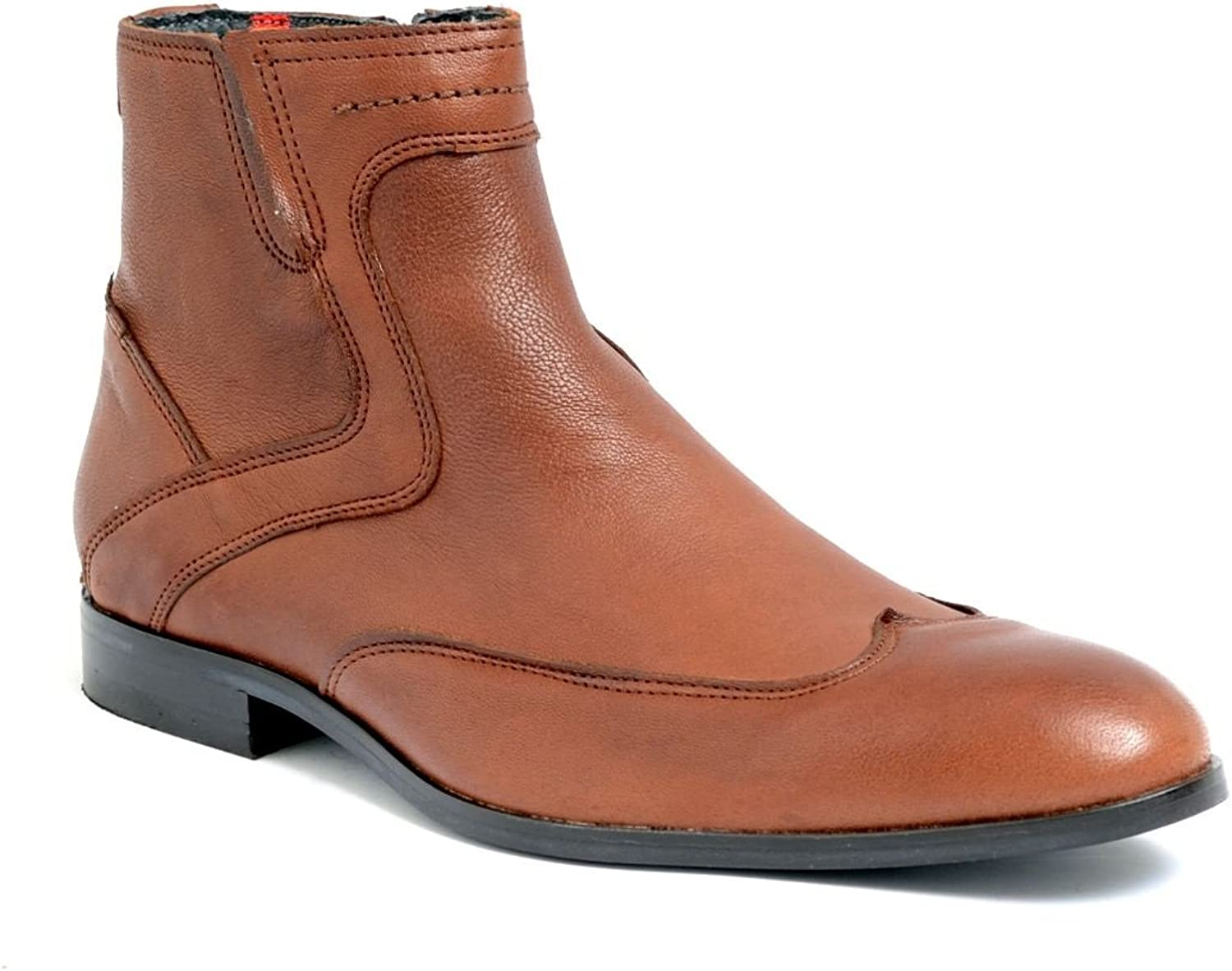 Men's PRATIK Maine Smart Chelsea Boots in Black and Tan Leather