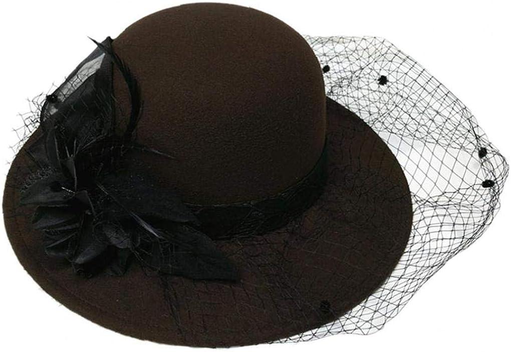 Church Dress Hat Faux Wool Fedora Flower Veil Panama Caps Head Accessories for Women Black