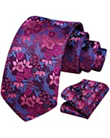 HISDERN Men's Floral Tie Handkerchief Jacquard Woven Classic Men's Necktie & Pocket Square Set,Hot Pink / Blue,8.5cm / 3.4 inches in Width