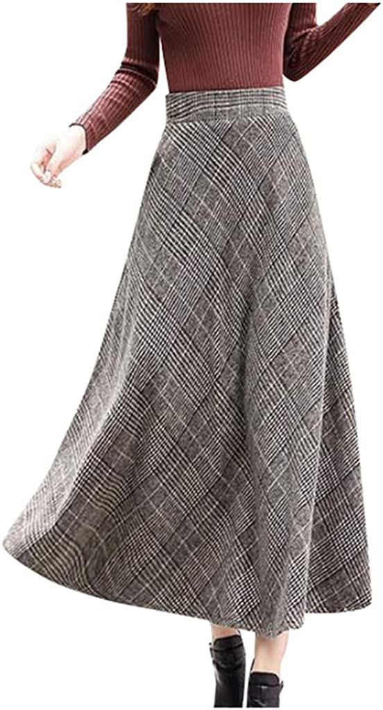 Gergeos Women Vintage Plaid A-Line Skirt Fashion Casual Ankle-Length Long Skirts Ladies Winter Swing Skirts