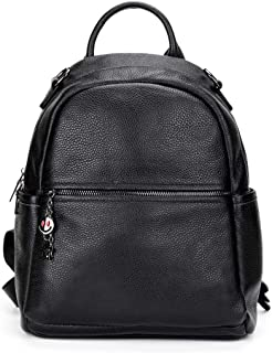 Xuan Yuan Backpack - Women's PU Leather Backpack, Stylish Wild Large-Capacity Leisure Bag Can Accommodate 12-inch Computer A4 Magazine File Backpack (Color : Black)