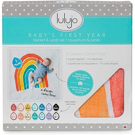 Lulujo 0628233455895 Babys First Year Deluxe Blanket /& Card Set Mon Petit