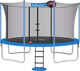 Papajet Trampoline 9x14FT 10x17FT Oval Trampolines for Kids with Safety Enclosure Net, Large Outdoor Backyard Trampoline TUV Certificated with Basketball Hoop, Ladder