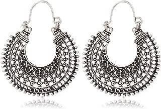 Antique Silver Boho Hollow out Gypsy Tribal Indian Drop Earrings Mandala Flower Earrings Vintage