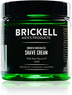Brickell Men's Smooth Brushless Shave Cream for Men, Natural and Organic Smooth Shaving Lotion to Fight Nicks, Cuts and Razor Burn, 2 Ounce, Unscented