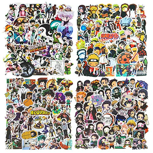 200Pcs Anime Stickers, Mixed Naruto Stickers Hunter x Hunter Stickers My Hero Academia Stickers Demon Slayer Stickers Waterproof Vinyl Stickers Skateboard Laptop Stickers for Teens Cartoon Decal