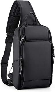 (ロキリフ) ボディバッグ 防水 多機能 大容量 USBポート付 ショルダーバッグ (B5サイズ iPad収納可 メンズ ビジネス 斜め掛け)(黒) (黒色)