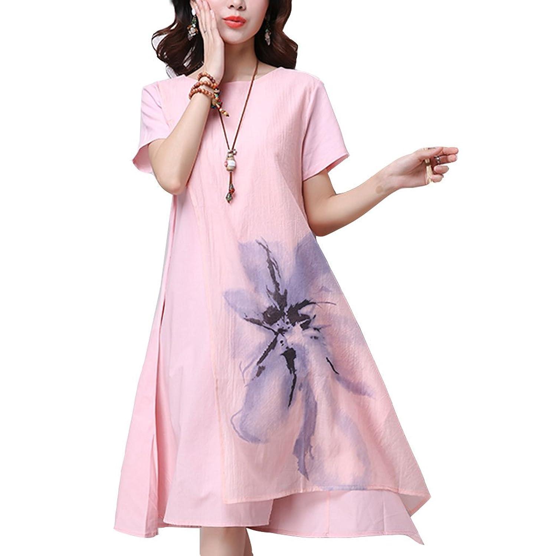 [美しいです]  女性 ワンピース 短袖 欧米風 ロングスカート  プリント 綿麻 夏  コード Aライン ゆっくり