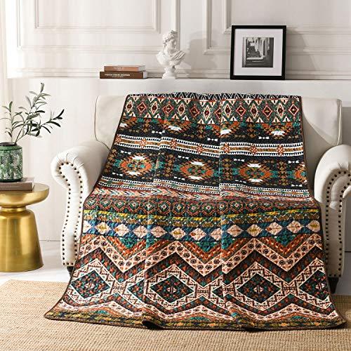 Qucover 150x200 cm Tagesdecke Bettüberwurf für Einzelbett, Zweiseitige Sofadecke Sommerdecke Indische Vintage Stil