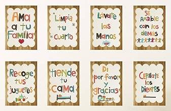 Good Manners 5x7 Wall Cards in Spanish, Nursery Wall Decor, Gender Neutral Kid's Art, 5x7 Prints, Children's Wall Art, Nursery Art, Baby Shower Gift, Inspirational Artwork for Kids, Playroom Decor