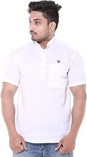 Twist Men's Linen Half Sleeve Chinese Collar Short Kurta Shirt