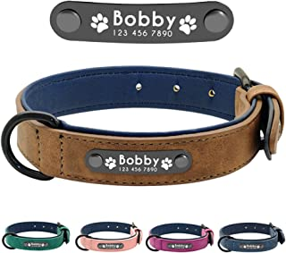 Didog Leather Custom Dog Collar,Engraved Dog Collars with Personalized Nameplate,Padded Custom Collar for Small Medium Large Dogs