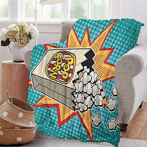EwaskyOnline Knee Blanket,Movie TheaterHalftone Background with Retro Style...
