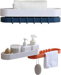 パーソナライズされた棚 Fangjiaの浴室の棚の壁の装飾的な貯蔵棚タオルシャンプーホルダーオーガナイザー、壁に取り付けられた棚なし穴のシャワーキャディ(白+オレンジ)(色:白+濃紺) (Color : White+dark Blue)