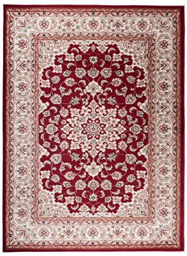 Pamir K466A 60 x 100 120 x 170 140 x 200 cm Alfombra moderna para salón y ambientes clásicos y modernos florales estilo Zigler Herati rojo (120 x 170 cm)