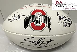 Archie Griffin, Eddie George and Troy Smith Signed / Autographed Ohio State Buckeyes Logo Football - JSA Certified