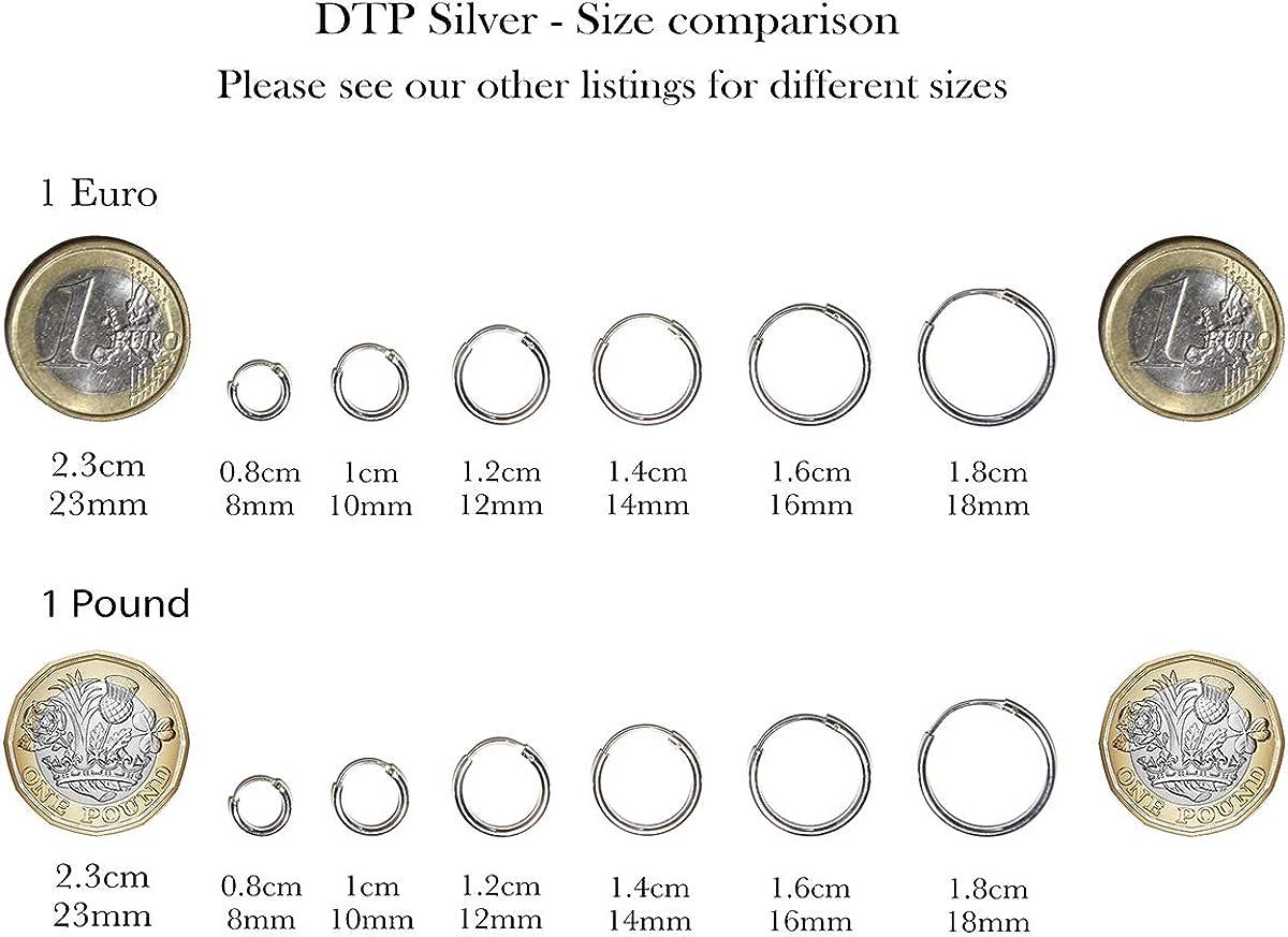 16 20 DTPsilver Diam/ètres : 14 18 /Épaisseur 1.5 mm 30 mm Argent Fin 925 Plaqu/é Or Rose Boucles doreilles Petites//Moyennes Cr/éoles Fermoir Cliquet /à bascule