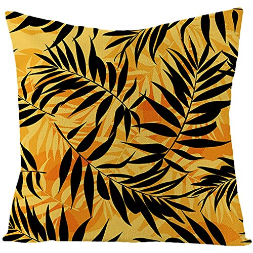 AtHomeShop 40 x 40 cm Funda de cojín decorativa en lino con estampado de hojas, suave, funda de cojín cuadrada para sofá, dormitorio, salón, sin relleno, color negro y naranja, estilo 32