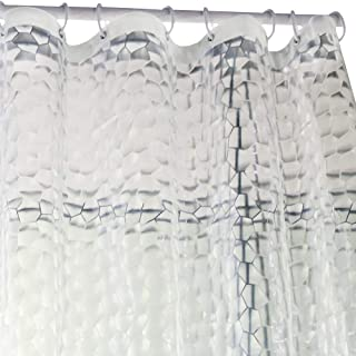 Wimaha Heavy Duty Shower Curtain Liner Waterproof 100% EVA Bath Curtain with Magnets for Bathroom, Shower Stall, Bathtub, 72 x 72, 3D Effect, Clear Watercube
