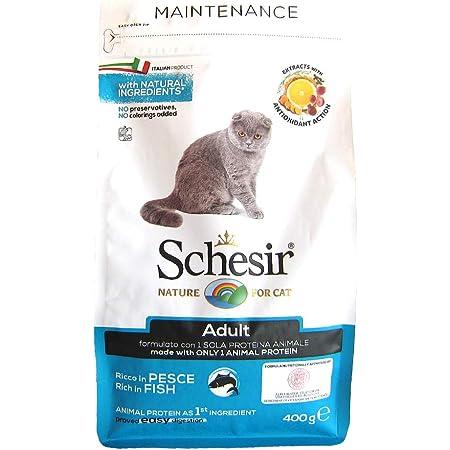シシア (Schesir) 無添加・無着色 総合栄養食 成猫用キャットフード シシア ドライフード アダルト リッチイン フィッシュ 400g 400グラム (x 1)