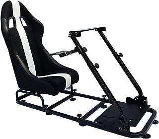 Asiento de simulación con estructura para ordenador y consola, tapizado en tela, color negro/blanco