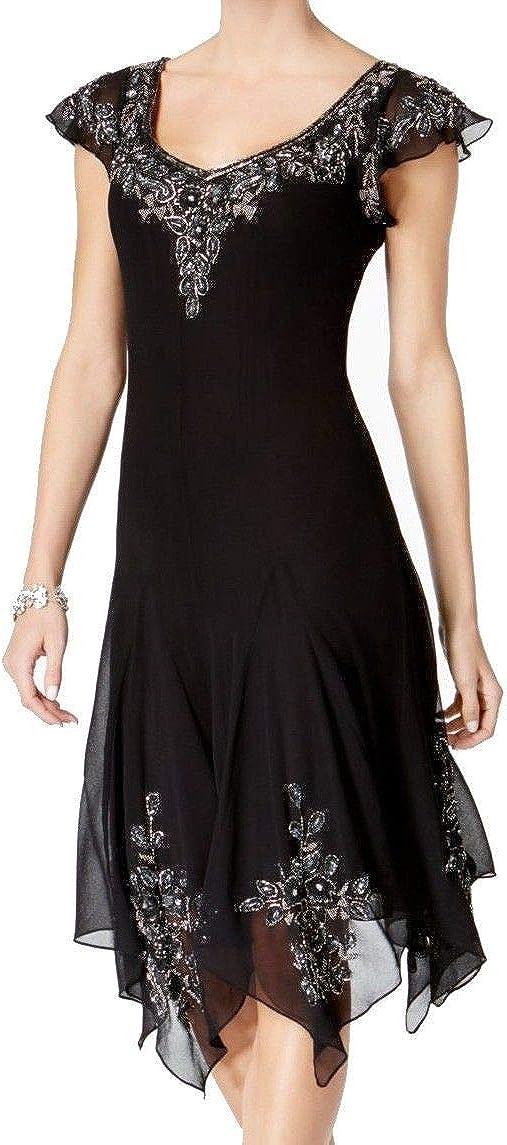 J Kara Women's Flutter Sleeve Hanky Hem Short Cocktail Beaded Dress