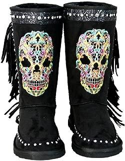 Montana West Rhinestone Fringe Sugar Skull Day of The Dead Winter Boots Gothic Biker Black