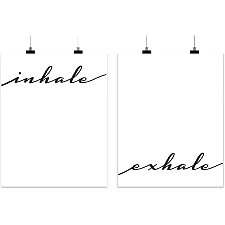 Amazon Com Inhale Exhale Home Wall Art Decor Gift Set Black And White Posters And Prints For Bathroom Living Room Office Bedroom Classroom Apartment Dorm Signs And Sayings For Guest Restroom