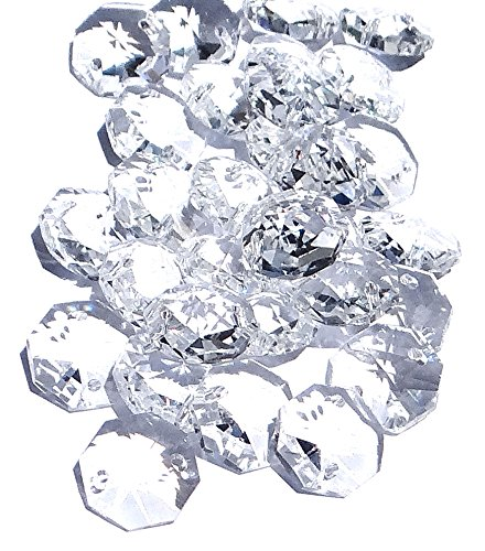 サンキャッチャー・アクセサリー用ガラスパーツ 14mm八角形(オクタゴン)二つ穴 クリスタルガラスビーズ 100個セット (クリア)の写真